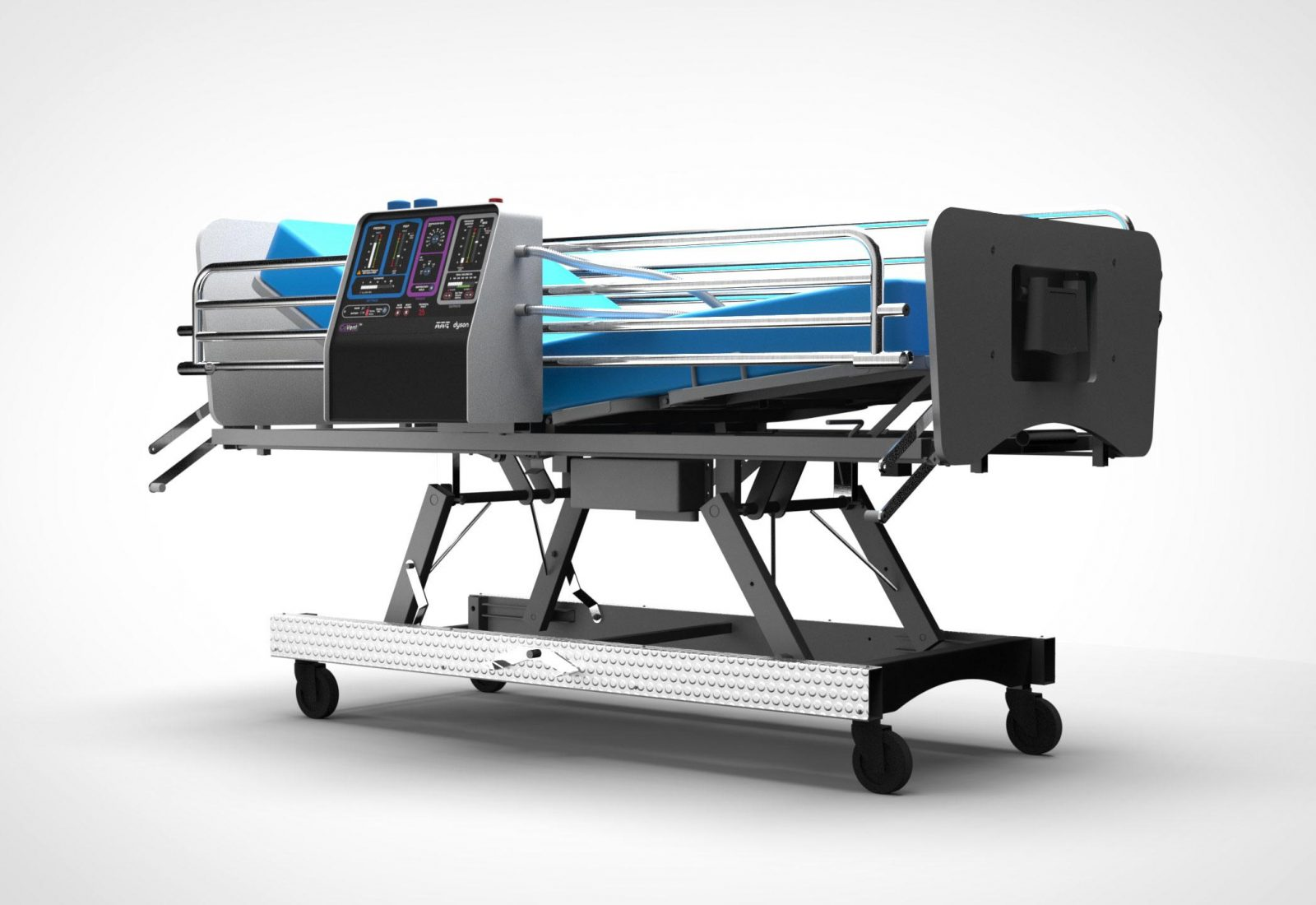 CoVent ventilator attached to a hosptal bed