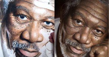 Morgan Freeman painted with pencil